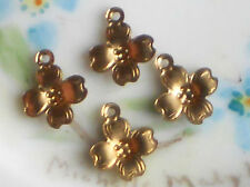 #1419Z Vintage brass Flower Charms Connectors Findings Stamping NOS Dogwood
