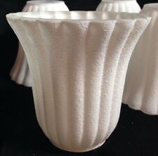 Set of 4 Glass Frosted White Sand Ribbed Bell Lamp Light Shades UNUSUAL FINISH