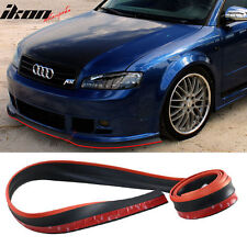 Universal Front Bumper Lip Chin Splitter Body Spoiler New (Black With Red Trim)