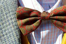 Luciano Barbera Red & Green Ancient Madder PRE-TIED Silk Bow Tie - Italy