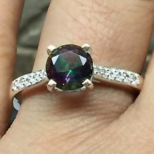 Designer 1ct Rainbow Mystic Topaz, Accent Stone 925 Solid Sterling Silver Ring 7