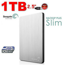 "1TB 2.5"" SEAGATE Backup Plus SLIM 1 TB Portable External Hard Drive Disk  Silver"