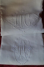 Antique French trousseau bolster cover, MG monogram, pure luxury linen fil