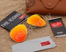 RayBan Aviator Sunglasses Matte Gold Frame RB3025 112/69 Orange Mirror Lens 58mm