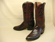 MENS LUCCHESE BLACK CHERRY ALLIGATOR BELLY BIAS CUT COWBOY BOOTS 8.5 D LTE WEAR