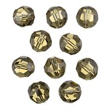 Transparent Grey 12mm Faceted Crystal Round Glass Beads - Pack of 10 (C34/2)
