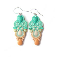 Chandelier Pastel Peach and Mint Green Spring Easter Romantic Earrings Jewelry