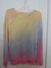 HARD TAIL Womens Miss Top (S) L/S Mesh Back Tee New Tie Dye Pastel Easter Spring