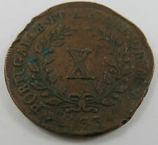 PT-58 PORTUGAL 1833 10 REIS COIN.HAS FEW DINGS AND SLIGHTLY BENT. SEE PICTURES