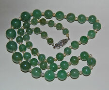 c1930, Vintage JADE BEAD NECKLACE - Diamond Clasp, Pearls - 14K GOLD      (3T24)
