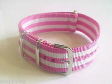 Pink/White Bond NATO military 20mm strap band for Timex Weekender watch + others