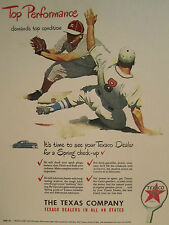 Vintage 1948 TEXACO GASOLINE BASEBALL LITHO DRAWN Advertising Color Sign/Ad