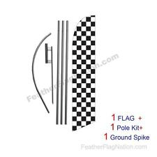 Black and White Checkered 15ft Feather Banner Swooper Flag Kit with pole+spike