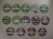 HESS SET 14 Pcs  EMPLOYEE TRUCK ADVERTISING  BUTTONS PIN 1992 - 2005