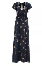 French Connection Lilly Anna Blu Seta Stampa Floreale Maxi Abito Taglia 8 RRP £ 180