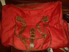 RED HOLDALL BAG WITH BROWN TRIM  NEW UNUSED
