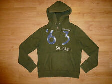 HOLLISTER KHAKI GRAPHIC COTTON BLEND HOODED JUMPER HOODY FOR MEN SIZE L