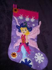 """Completed Finished """"Christmas Fairy"""" Handmade Felt Applique Christmas  Stocking"""