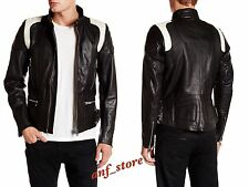 NWT Diesel L-STONE Mens MOTORCYCLE Cowhide Leather Black Jacket L LARGE $898