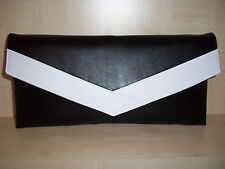 BLACK AND WHITE faux leather envelope clutch bag,  fully lined BN, georgous!