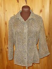 UNITED COLORS OF BENETTON brown beige spotted chiffon 3/4sleeve blouse top 10-12