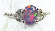 Silver 925 Filled Size 8 Ring 7*5mm Dark Cherry Red Lab Fire Opal Cabochon  WT
