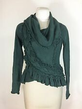 Anthropologie Guinevere Green Sweater Sweeping Frills Cowl Neck Ruffle Sz S