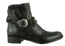 MORI MADE IN ITALY CHEVILLE TALONS HAUTS BOOTS BOTTES CHAÎNE CUIR NOIR 39