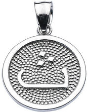 """Sterling Silver Arabic Letter """" thaa"""" t' Initial Charm Pendant"""