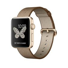 42mm Apple Watch Series 2  Gold Aluminum Case Toasted Coffee Caramel Woven Nylon
