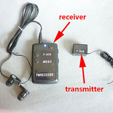 spy Wireless BUG Covert transmitter receiver mini FM Listening Device Ear F908