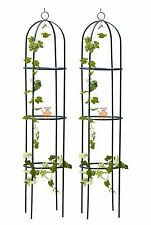 Set of 2 Garden Obelisk Climbing Plants Support Frame Roses Metal Arch Pair 1.9m
