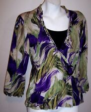 Notations Top L Purple Black Stretch Knit 2-Fer O-Ring Shirt Blouse Womens Large
