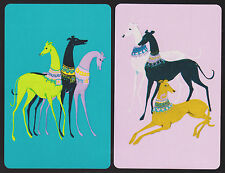 2 SINGLE VINTAGE SWAP PLAYING CARDS ROYAL DECO GREYHOUND DOGS NO BORDERS