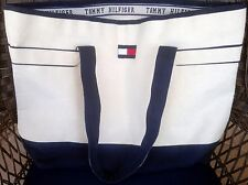Tommy Hilfiger Classic Color Block Red White Navy Blue Large Canvas Tote Bag