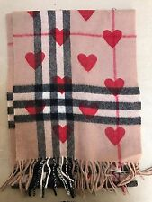 BBERRY RED HEART PRINT CASHMERE SCARF, RRP £395