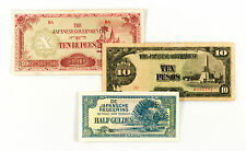 Set of 3 diff. countries Japan invasion paper money NEI, Burma, Philippines WW2