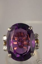VINTAGE 1940'S 18K GOLD 19X14MM AMETHYST DIAMOND RING
