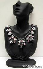 STATEMENT GLAM CHUNKY FAUX CRYSTAL RHINESTONE BUG CHAIN COLLAR NECKLACE BLACK