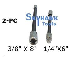 "2pc Flexible Socket Extension 6"" Long 1/4"" and 8"" Long 3/8"" Socket Bar Ratchet"