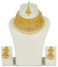2235 Indian Bollywood Polki Style Gold Plated Bridal Jewelry Necklace Set