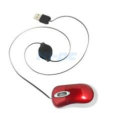 New Mini Retractable USB Optical Mouse for PC Laptop Red