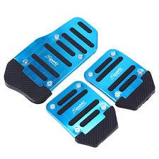 Universal Racing Sport 3pcs Non-Slip Aluminum Manual Car Pedals Pad Blue