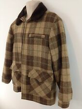 Woolrich Mens Large Brown Plaid Lined Zip Front Rancher Wool Jacket Coat