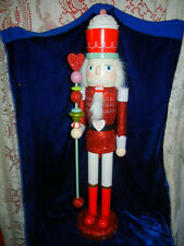 LARGE 2 FOOT TALL - GLITTERY CANDY CUPCAKE CHRISTMAS NUTCRACKER DISPLAY FIGURE
