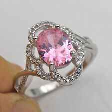 18K White Gold Filled - 8*10MM Pink Oval Topaz Hollow Flower Cocktail Ring SZ 9