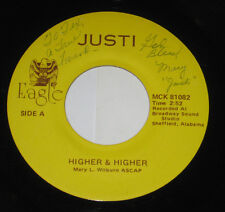 """Justi 7"""" 45 HEAR ♫ Higher & Higher PRIVATE MODERN SOUL CROSSOVER SIGNED on EAGLE"""