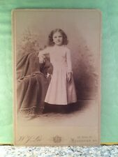 CABINET CARD PHOTO GIRL IN WHITE DRESS, STUDIO PROPS, ROCHESTER, NY