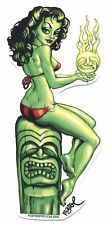 GREEN GODDESS by Bigtoe STICKER **FREE SHIPPING** -bts03 pin-up girl tiki skull