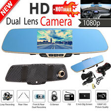 "5""LCD HD 1080P Dual Lens Car Rear View DVR Mirror Video Recorder Camera Dash Cam"